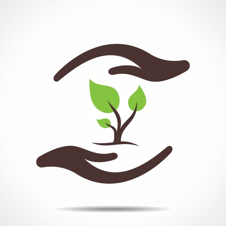 mãos: salvar a natureza conceito