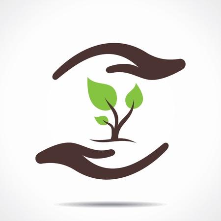 hold hand: salvare il concetto di natura Vettoriali