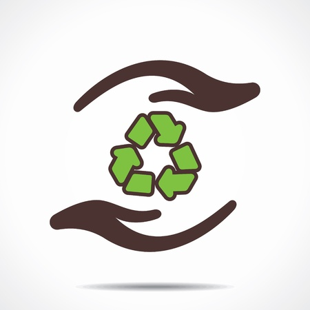 recycle symbol in hand stock Stock Vector - 21695059