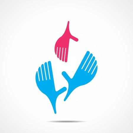 ayudando icono de la mano