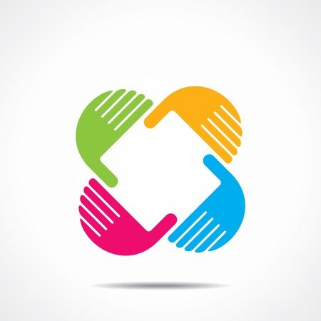 ni�os ayudando: icono de la mano creativa, organizar la mano y hacer que la forma cuadrada Vectores