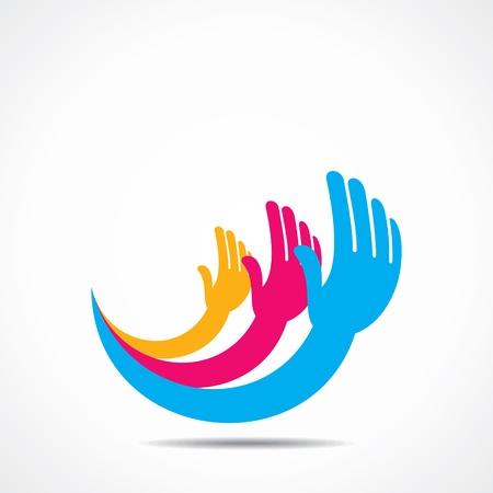creative hand icon concept design
