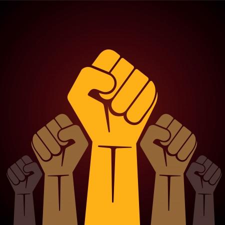 くいしばられた握りこぶし抗議イラストで開催