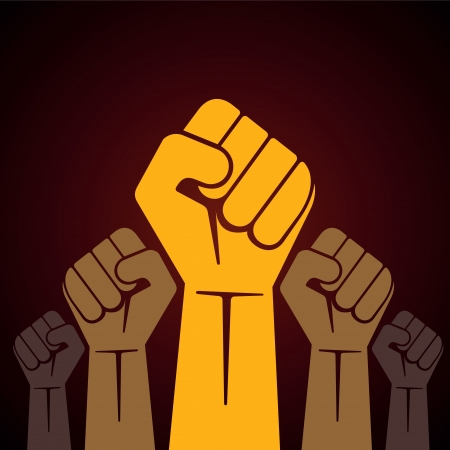 protest signs:  clenched fist held in protest illustration