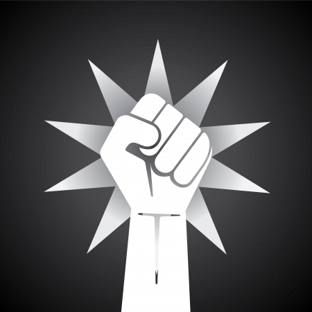 clenched fist held high in protest illustration   Illustration