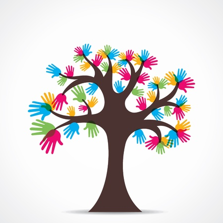 colorful hand tree Stock Vector - 21695240
