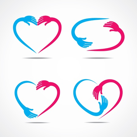 palm hand: different heart shape symbol design with hand  Illustration