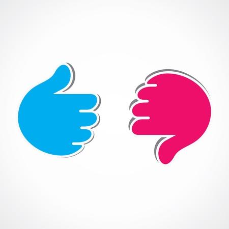 unlike: like and unlike hand symbol Illustration