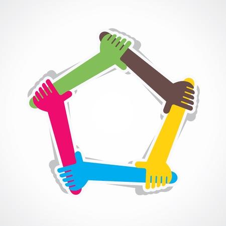 Hand aan teamwerk en elkaar ondersteunen Stock Illustratie