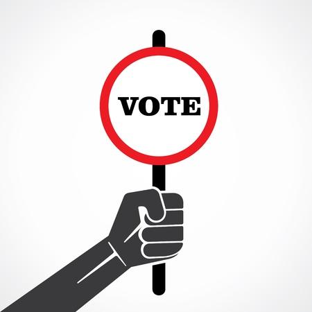 majority: vote word banner hold in hand stock vector