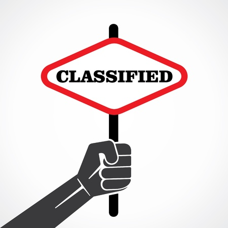 classified ads: classified word banner hold in hand stock vector Illustration