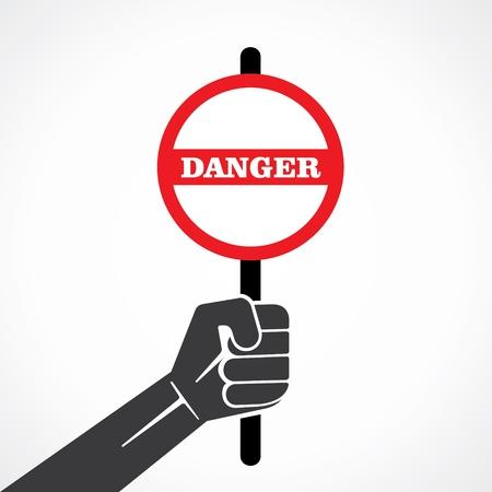 danger word banner hold in hand stock vector Stock Vector - 22097799