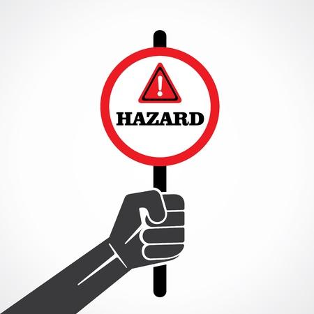 hazard word banner hold in hand stock vector Stock Vector - 22097796