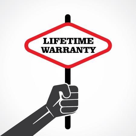 lifetime warranty word banner hold in hand stock vector Illustration
