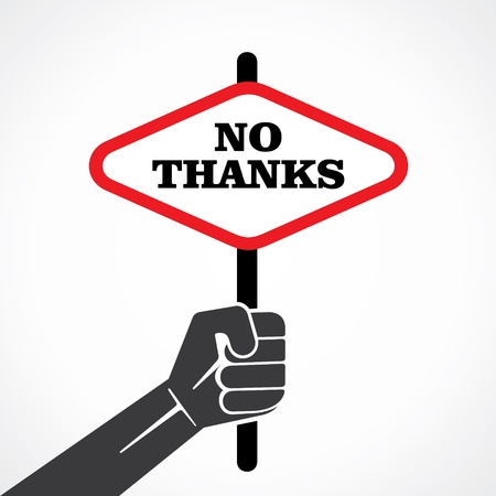 no thanks word banner hold in hand stock vector Illustration