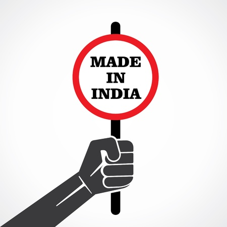 made in india word banner hold in hand stock vector Illustration