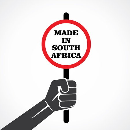 made in south africa banner hold in hand stock vector Vector