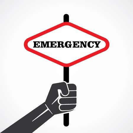 emergency word banner hold in hand stock vector Stock Vector - 22092793