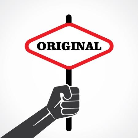 original word banner hold in hand stock vector
