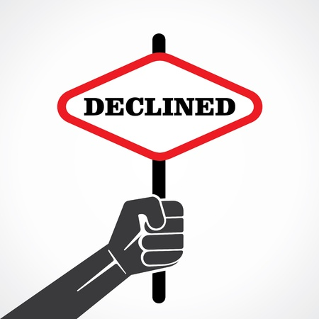 declined word banner hold in hand stock vector Vector
