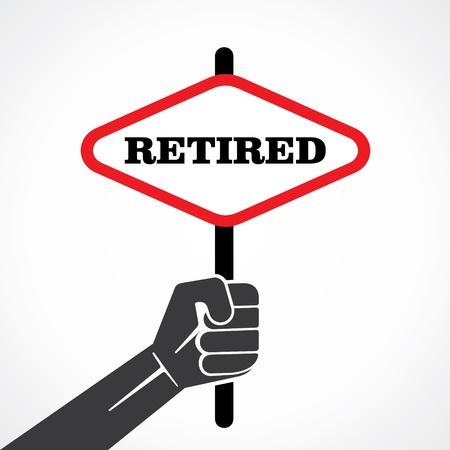 retired: retired banner hold in hand stock vector