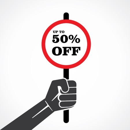 retail therapy: 50  off placard hold in hand stock vector Illustration