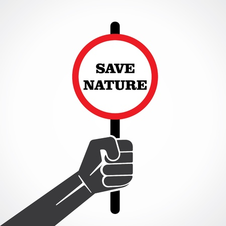 save natureword  placard hold in hand stock vector Stock Vector - 22097810