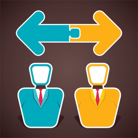 join two opposite arrow above two businessmen stock vector Stock Vector - 22093364