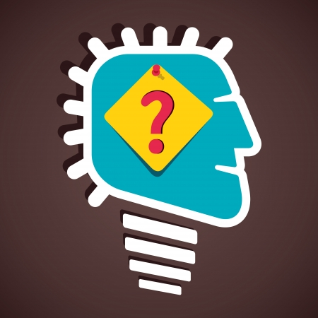 unsolvable: question mark on paper notes in human head stock vector