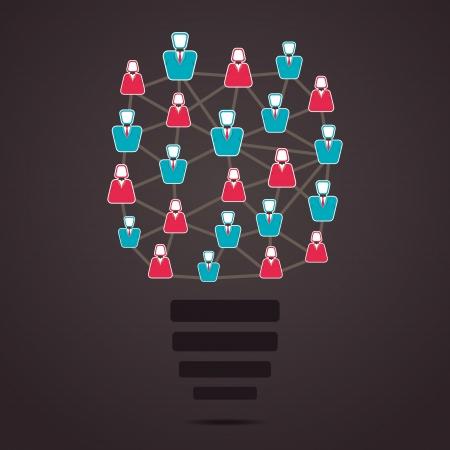 social network people bulb vector  Vector