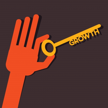 Growth key in hand stock vector  Vector