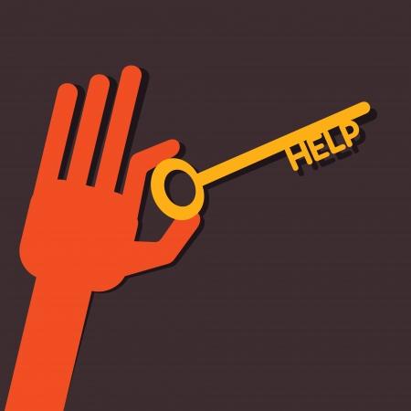 activacion: Tecla de ayuda en la mano stock vector
