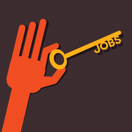 Jobs key in hand stock vector  Иллюстрация