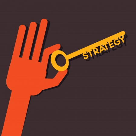 Strategy key in hand stock vector  Vector