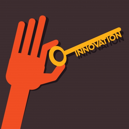 Innovation  key in hand stock vector  Vector
