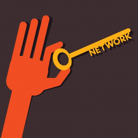 gold keyhole: Network key in hand stock vector  Illustration