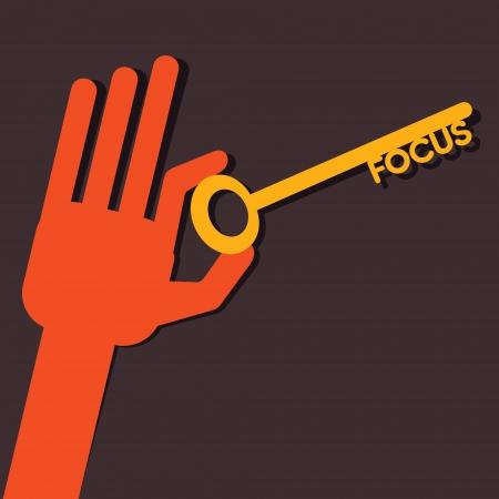 activacion: Enfoque llave en mano stock vector