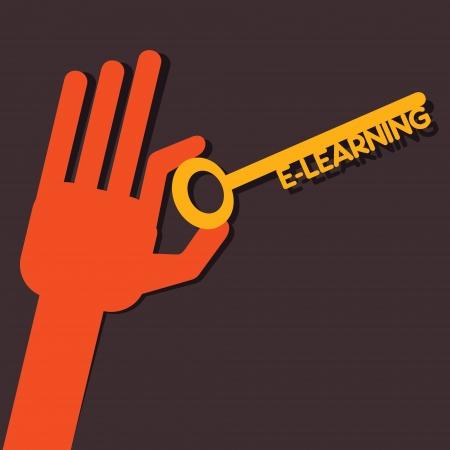 e reader: E-learning key in hand stock vector