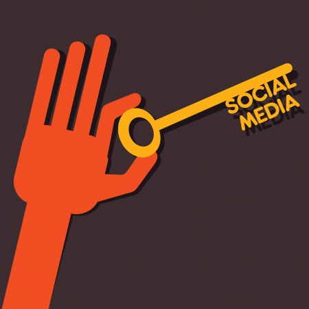 social media key in hands stock vector  Vector