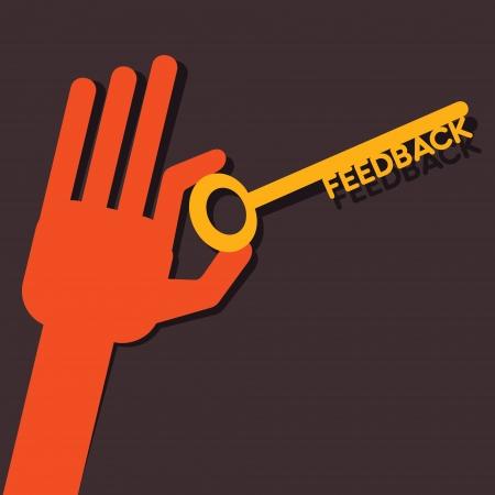 e survey: Feedback key in hand stock vector  Illustration
