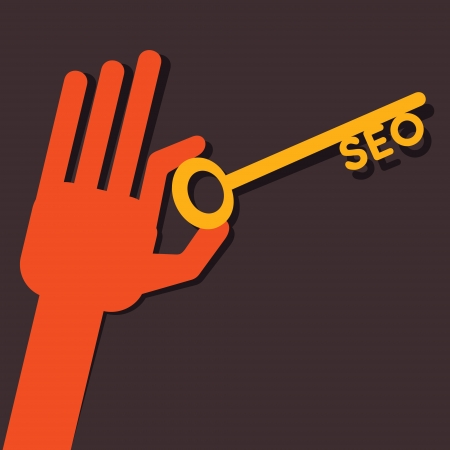 meta search: Chiave SEO in mano stock vector Vettoriali