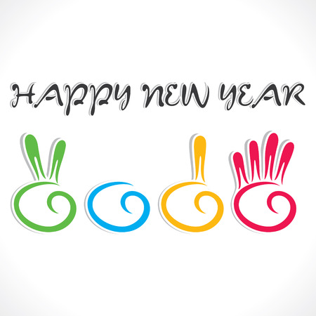 creative counting hand finger 2014 new year stock vector  Illustration