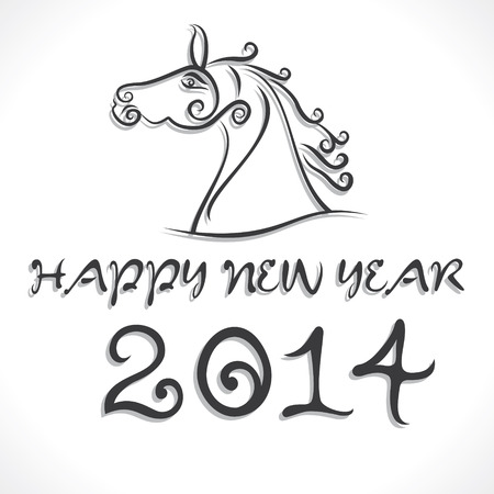 draw horse and new year 2014 background vector  Vector