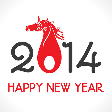 happy new year 2014 greeting background vector  Illustration