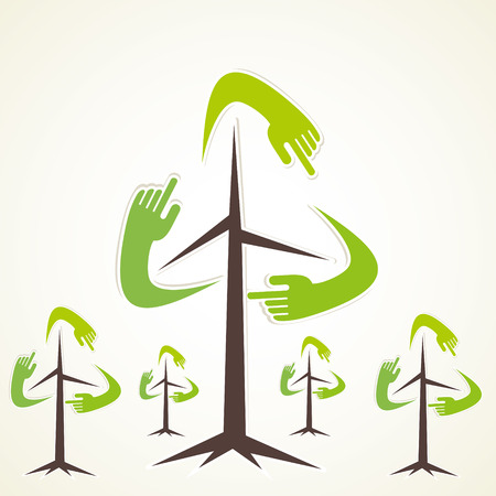 recycle tree: creative hand recycle tree vector Illustration