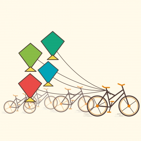 colorful kite attach bicycle vector Vector