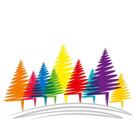 colorful Christmas tree background vector Vector