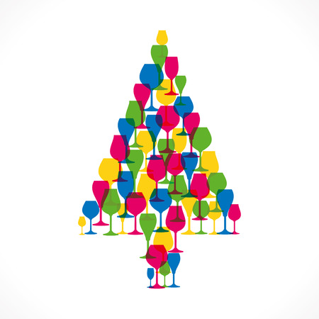 wine glass christmas: colorful wine glass christmas tree vector