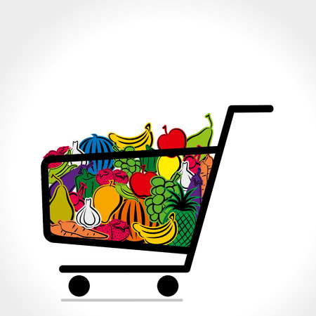 shopping trolley full of vegetable and fruit vector Illustration