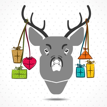 chrismtas deer with gift box in background vector Vector